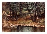 Painting of Deer by the Lake